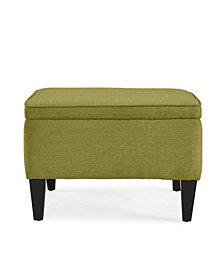 George Flip Top Ottoman in Green Linen