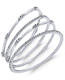 I.N.C. Silver-Tone 4-Pc. Set Crystal Bangle Bracelets, Created for Macy's