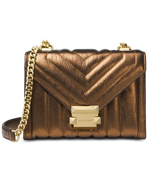 4025ffa07f44 Michael Kors Whitney Mini Quilted Leather Metallic Shoulder Bag ...