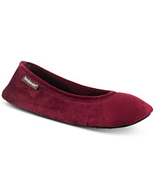 Isotoner Signature Victoria Stretch Velour Ballerina Slippers