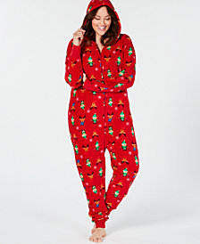 Matching Family Pajamas Plus Size Women's Elf Hooded Pajama Jumpsuit, Created For Macy's