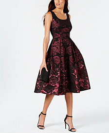 Ivanka Trump Metallic Floral A-Line Dress