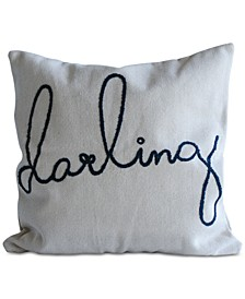 "Square Cotton Pillow with ""darling"" Embroidery"