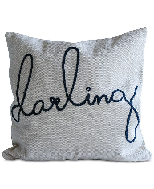"""Bloomingville Square Cotton Pillow with """"darling"""" Embroidery"""