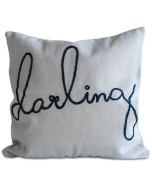 """3R Studio Square Cotton Pillow with """"darling"""" Embroidery 6686296"""