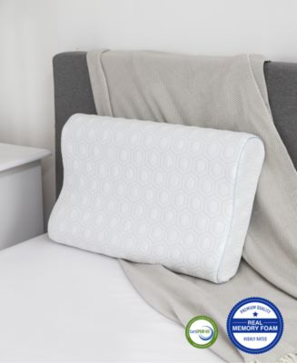 Luxury Gel-Infused Memory Foam Oversized Contour Pillow with Heat Reducing COOLcloth Cover and Built-In iCOOL Technology System