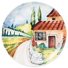 Vietri Landscape Countryside Round Wall Plate