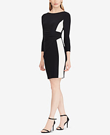 Lauren Ralph Lauren Shirred Two-Tone Dress