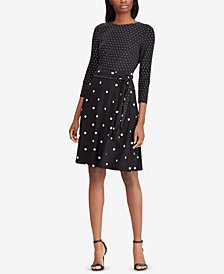 Lauren Ralph Lauren Polka-Dot Printed Fit & Flare Dress