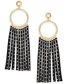 kate spade new york Gold-Tone Circle & Studded Faux Leather Statement Earrings