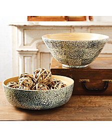 Set of 2 Celadon Gilded Lacquered Bamboo Shimmer Bowls