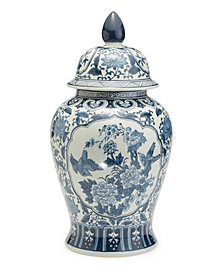 Blue and White Flora and Fauna Cartouche Covered Temple Jar