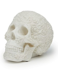 Two's Company Carved Skull Faux Marble Sculpture