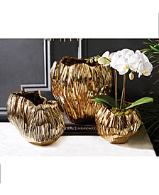 Piriform Set of 3 Gold Plated Vases