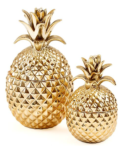 Two's Company Pineapple Jars with Lids, Set of 2