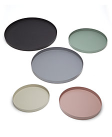 Mercer Set of 5 Textured Powder Decorative Trays Assorted Colors , Sizes: Taupe, Rose, Green, Grey, Black