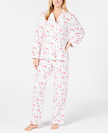 Charter Club Cotton Printed Flannel Pajama Set, Created for Macy's
