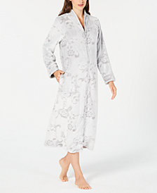 Charter Club Petite Printed Long Zip Robe, Created for Macy's