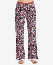 Layla Printed Lace-Hem Pajama Pants