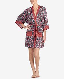 Layla Mixed-Print Short Wrap Robe