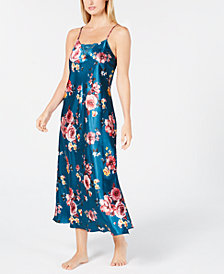 Thalia Sodi Floral-Print Lace-Trim Nightgown, Created for Macy's