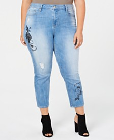 Seven7 Trendy Plus Size Cropped Embroidered Jeans