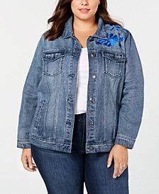 Seven7 Jeans Trendy Plus Size Embroidered-Floral Denim Jacket