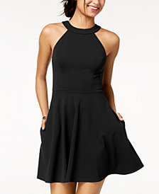 Speechless Juniors' Cutout Fit & Flare Dress, Created for Macy's