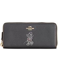 COACH Minnie Motif Boxed Slim Accordion Zip Wallet in Pebble Leather