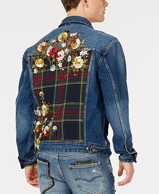 Guess Men S Oversized Embroidered Denim Jacket Coats Jackets