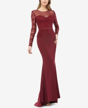 JS COLLECTIONS Illusion Lace-Sleeve Gown in Cabernet