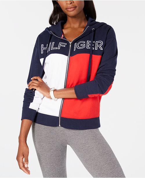 ca4102f62 Tommy Hilfiger Logo Heritage Zip-Front Hoodie   Reviews - Tops ...