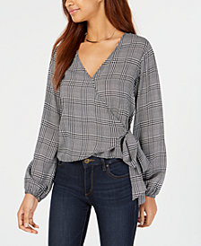 Project 28 Juniors' Houndstooth-Print Wrap Blouse