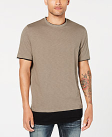 I.N.C. Men's Textured Colorblocked Layered-Look T-Shirt, Created for Macy's