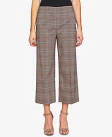 CeCe Plaid Cropped Wide-Leg Pants
