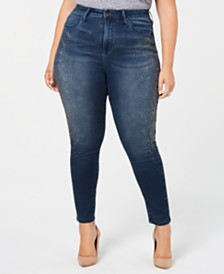 Seven7 Jeans Trendy Plus Size Embellished Skinny Jeans