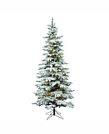 9' Flocked Utica Fir Slim Artificial Christmas Tree with 600 Warm White LED Lights
