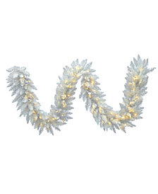 9' Sparkle White Spruce Artificial Christmas Garland with 100 Warm White LED Lights