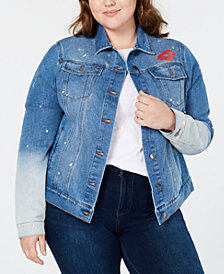 Hybrid Plus Size Embroidered Denim Jacket