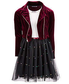 Beautees Big Girls 2-Pc. Moto Jacket & Faux Pearl-Trim Dress Set