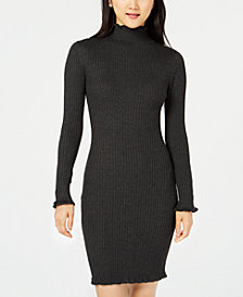 Planet Gold Juniors' Ribbed Mock-Neck Sweater Dress