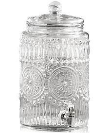Jay Imports Bradford 2-Gallon Beverage Dispenser with Glass Lid & Silver Base