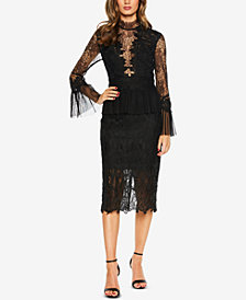 Bardot Lace Bell-Sleeve Sheath Dress