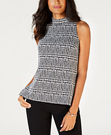 MICHAEL Michael Kors Plaid Split Hem Tunic, In Regular & Petites