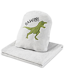 Urban Dreams Dusty The Dino 3-in-1 Hand-Warmer Pillow & Throw, Created for Macy's