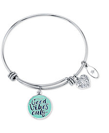 "Unwritten ""Good Vibes Only"" Adjustable Charm Bangle Bracelet in Stainless Steel"