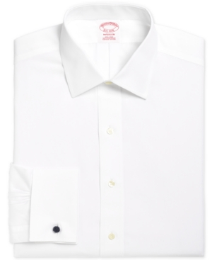 Brooks Brothers Men's Madison Classic/Regular Fit Non-Iron Solid Broadcloth White French Cuff Dress Shirt