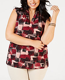 Nine West Plus Size Inverted-Pleat Printed Top