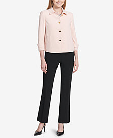 Calvin Klein Four-Button Cropped Crepe Jacket & Modern Fit Trousers