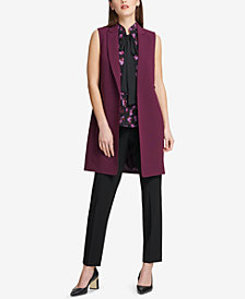 DKNY Ruffled-Back Long Vest & Straight-Leg Pants, Created for Macy's